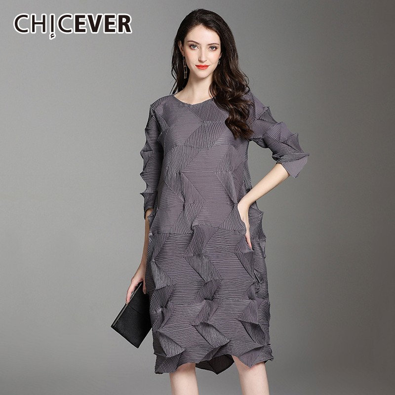 Vestidos de Otoño de CHICEVER de las tallas grandes cuello redondo manga de tres cuartos suelto vestido de gran tamaño ropa Casual de moda femenina nuevo-in Vestidos from Ropa de mujer    1