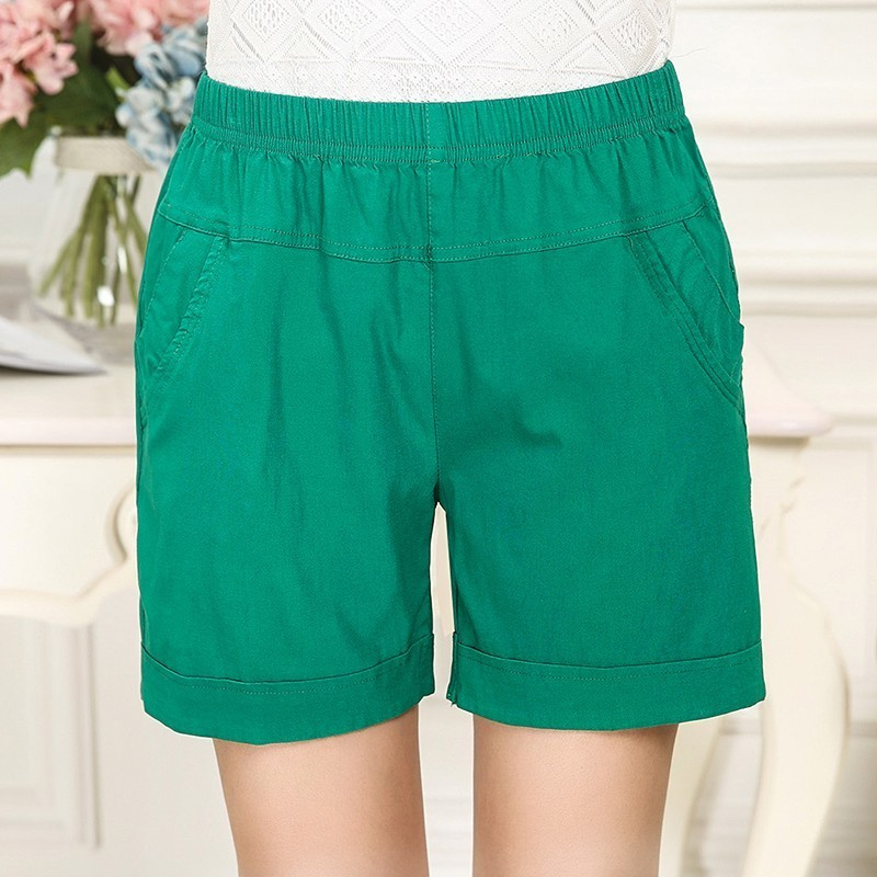 Fashion Elastic Waist Cotton Shorts Women 2019 New Fashion Summer Slim Casual Femme Solid Color Short Feminino Plus Size