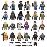 24Pcs/set Fortnight Game Battle Royale Figuras Default Skin Skull Trooper Bumout Scorpion Wild Card Weapons Building Blocks Toys