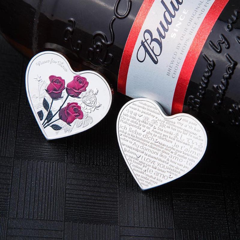 1 шт 38 мм Сердце Роза День Святого Валентина памятная монета я люблю тебя эмуляция День Святого Валентина игра валюта ремесло