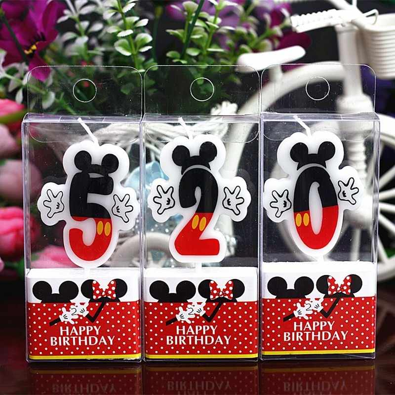 New Birthday Number 0-9 Candles Cartoon Mickey Minnie Mouse Happy Birthday Candle Cake Cupcake Topper Party Decoration Supplies