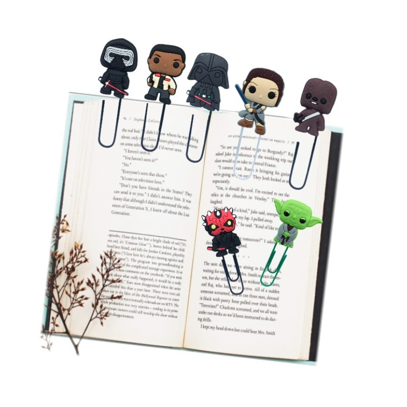 8pcs/lot Star Wars Cartoon Action Figure Bookmarks For Boys PVC Paper Clips Page Holder School Office Stationery Party Gift
