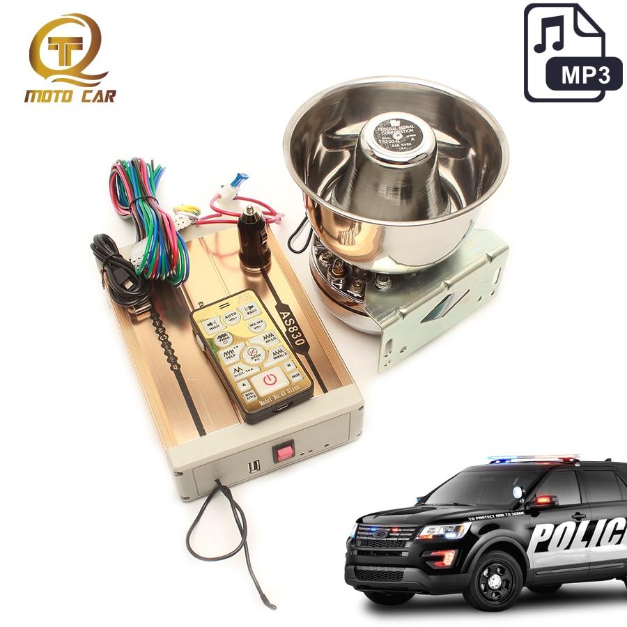 12V Car Alarm Siren Police Loud Speaker 200W MP3 Player USB Megaphone Wireless for AUTO Moto VW B5 Polo Train Horn Emergency PA