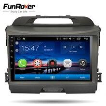 FUNROVER android 8,0 9 «2 дин Авторадио GPS; Мультимедийный проигрыватель для KIA Sportage навигации Передняя панель DVD плеер WI-FI FM