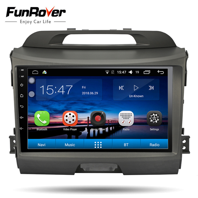 """FUNROVER android 8.0 9"""" 2 din car dvd car radio gps Multimedia Player for KIA Sportage Navigation headunit tape recorder WIFI FM"""