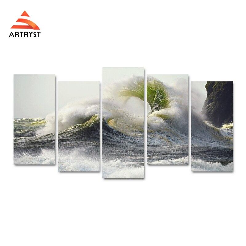 5 kusů HD tisku plátno umělecká malba omílání vlny bouře krajina obrázek tisk na plátno pro domácí dekor obývacího pokoje
