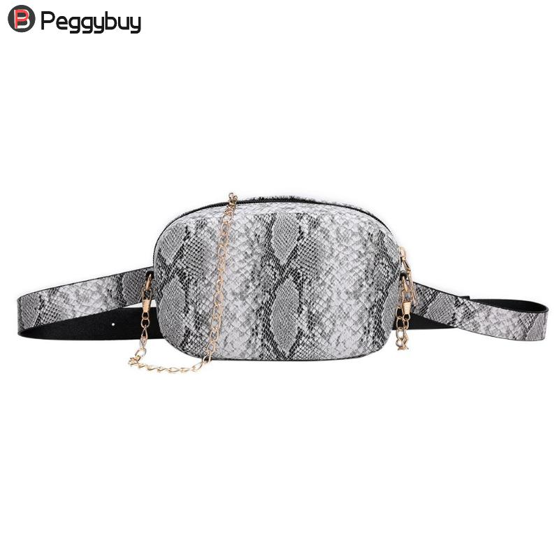 Fashion Snake Pattern Leather Chain Belt Bags Phone Pouch Women PU Leather Waist Bags Female Fanny Packs
