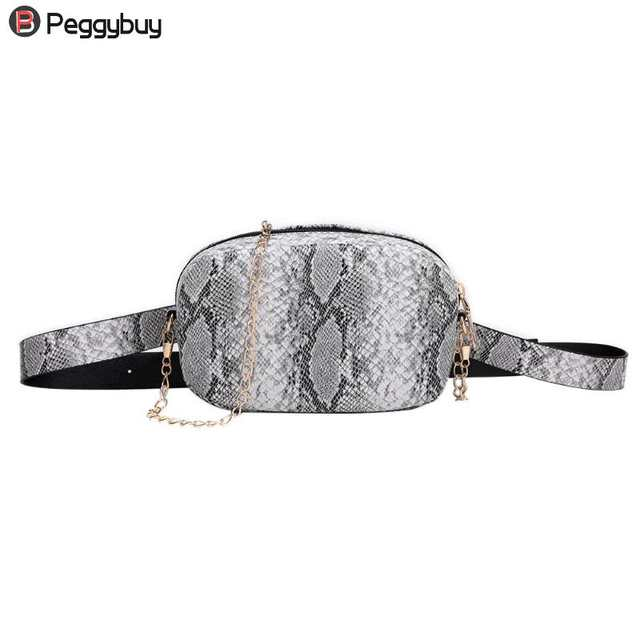 94511c1d744 Fashion Snake Pattern Leather Chain Belt Bags Phone Pouch Women PU Leather  Waist Bags Female Fanny Packs