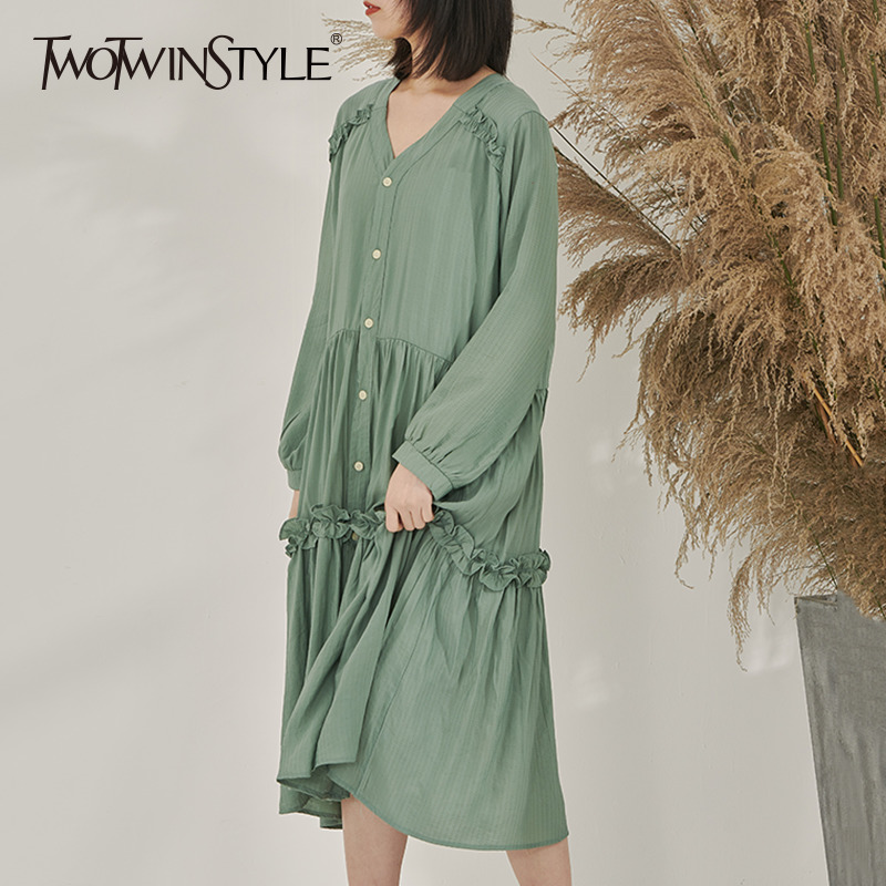 TWOTWINSTYLE Ruffle Dress Female V Neck Loose Long Sleeve Midi Pleated Dresses Female Casual Fashion New