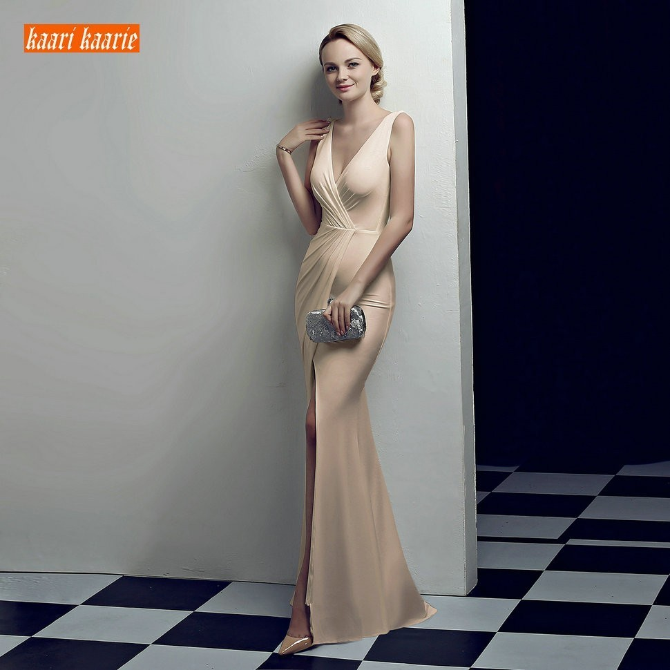 Sexy Champagne Slim Fit Evening Gowns Long 2019 Sexy Mermaid Evening Dresses Party V Neck Spandex