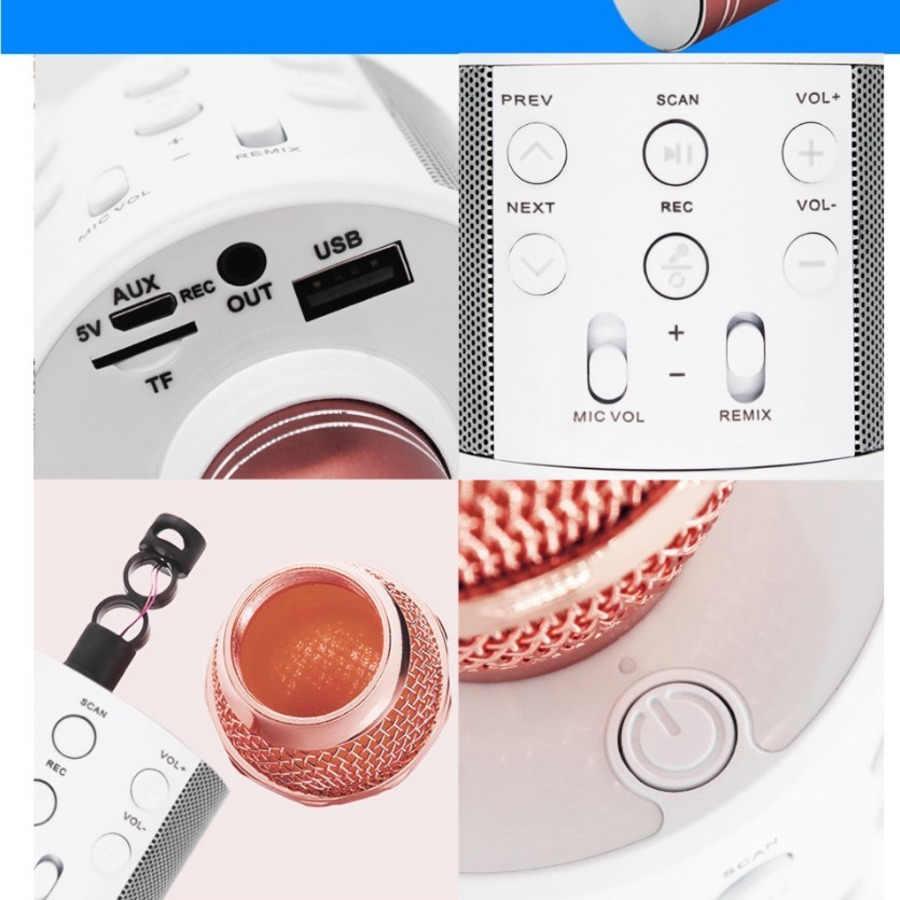 Micrófono profesional WS-858 con bluetooth, karaoke inalámbrico para micrófono condensador, micrófono de sonido mágico para grabación de estudio, micrófono