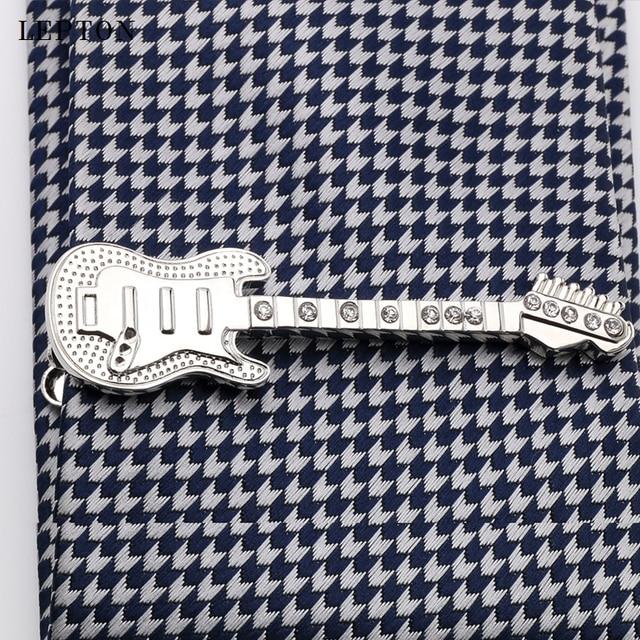 Лептон музыкальный зажим гитара для Галстука Зажим мужчин полированный