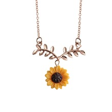 Summer Sunflower Sliver/Rose Gold Color Leaves Pendant Necklace Charms Flower Chain Fashion Jewelry Chic Birthday Gift for Women