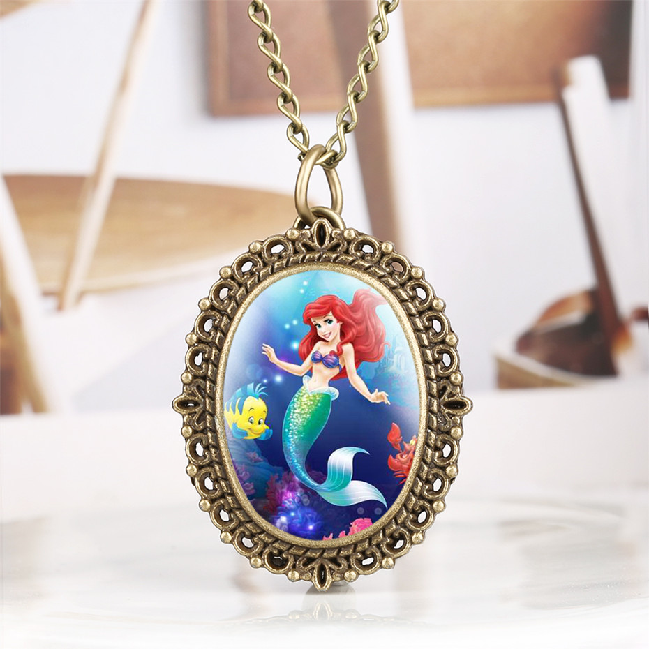 Lovely Mermaid Quartz Pocket Watch For Girl Vintage Bronze Necklace Pendant Clock Lady With Fob Necklace Chain
