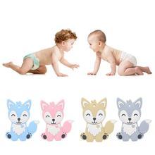 Силиконовый Прорезыватель для зубов в форме лисы из мультфильма, не содержит бисфенола, детский молярный стержень, подарок для прорезывания зубов, игрушки для малышей