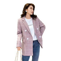 PEONFLY 2019 New Classic Pink Plaid Women Blazers Casual Notched Double Breasted Houndstooth Blazer Jacket Office Lady Coats