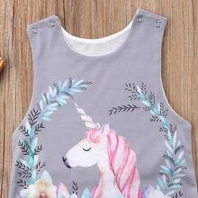 Kids Baby Girls Unicorn Romper Jumpsuits 0-18M