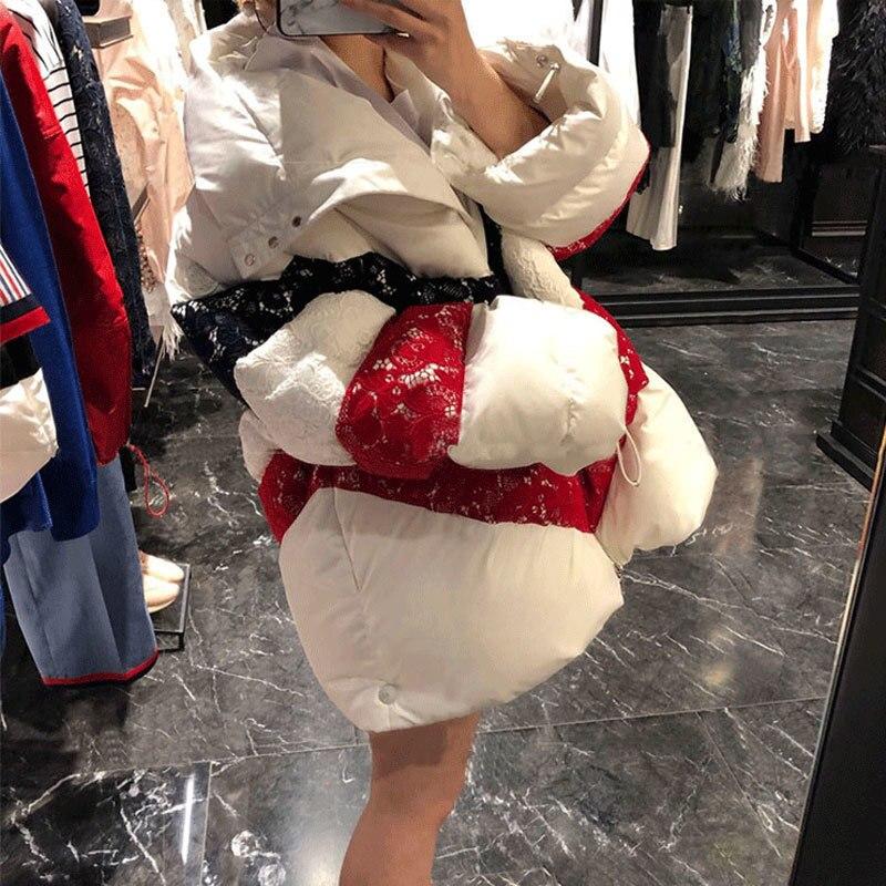 ewq Femme Pour Oc782 Longues White Col Lâche Vêtement Décontracté Nouveau Zipper Manteau D'hiver 2019 À Vêtements Spirng Manches Haut Coton Splice Ourlet AwgHrAUnqx