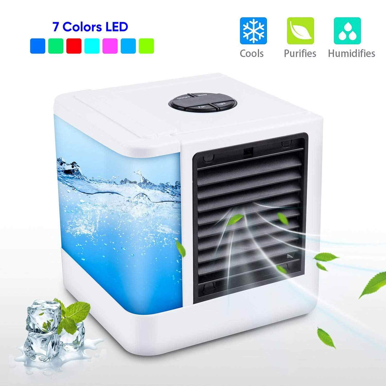 Mini Portable Air Conditioner Humidifier Purifier USB Air Cooler 7 Colors Light Desktop Air Cooling Cooler Fan For Home Office