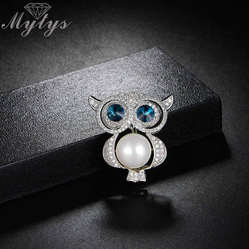 Mytys Warna Perak Kristal Burung Hantu Biru Mata Mutiara Perut Australia Kristal Pin Bros Pakaian Pakaian Gaun Perhiasan Aksesori X297