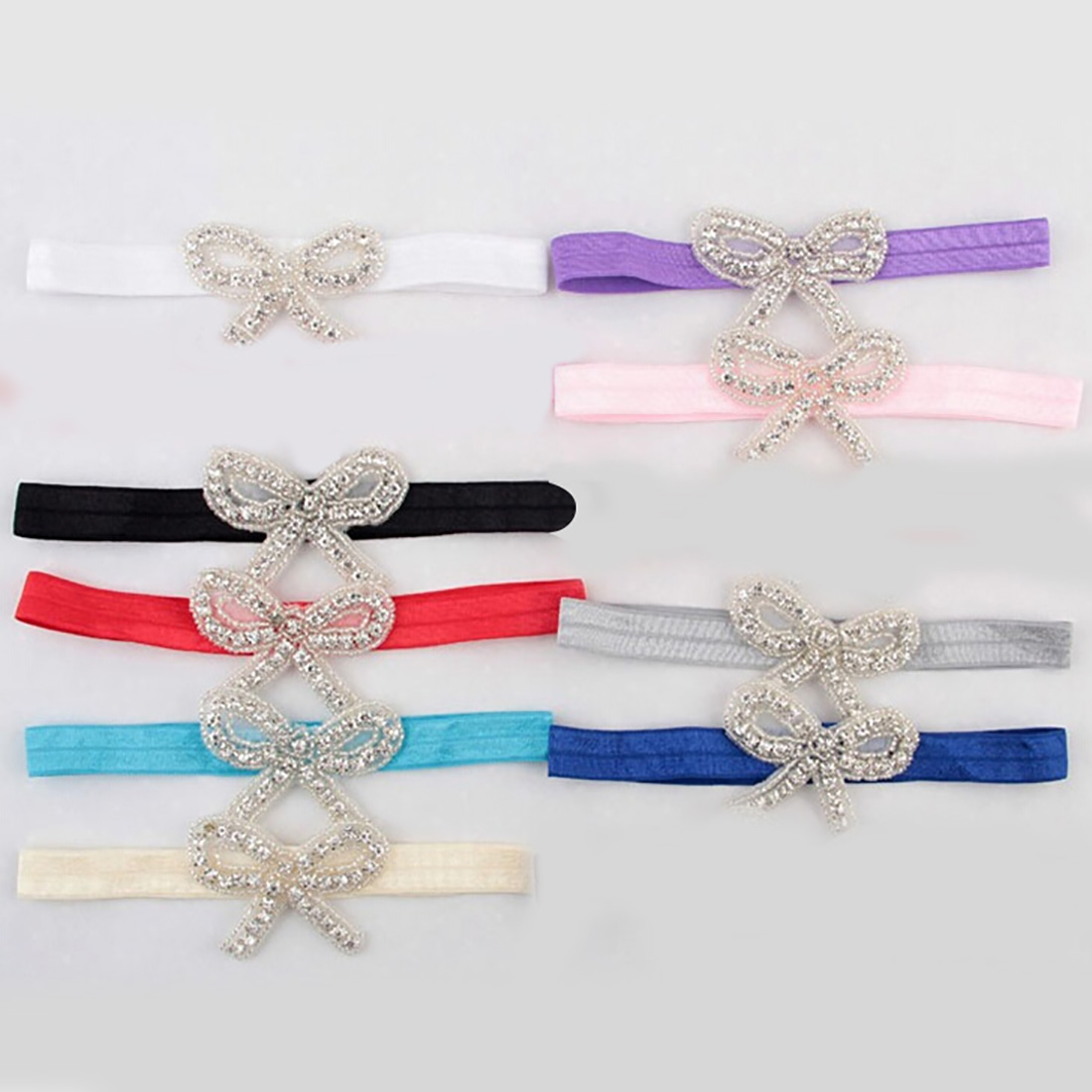 Baby Newborn Photography Prop Bow Headband Crystal Bow Baby Headband