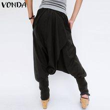 VONDA Brand Fashion Women Pants 2019 Autumn Casual Elastic Waist Front Button Pockets Loose Harem Pants Baggy Trousers Plus Size