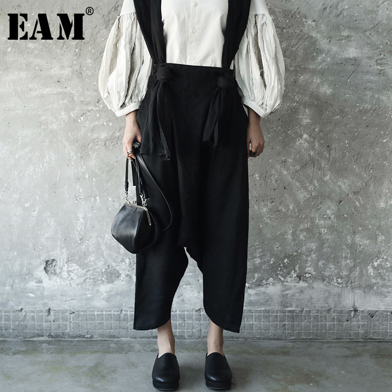 EAM 2019 New Spring Temperament Strapless Two Pocket Wide Leg Pants Women Trousers Fashion Tide