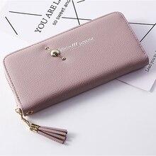 Single Ladies Wallet Litchi Pattern Earth Tassel Pendant Handbags Mobile Phone Purse