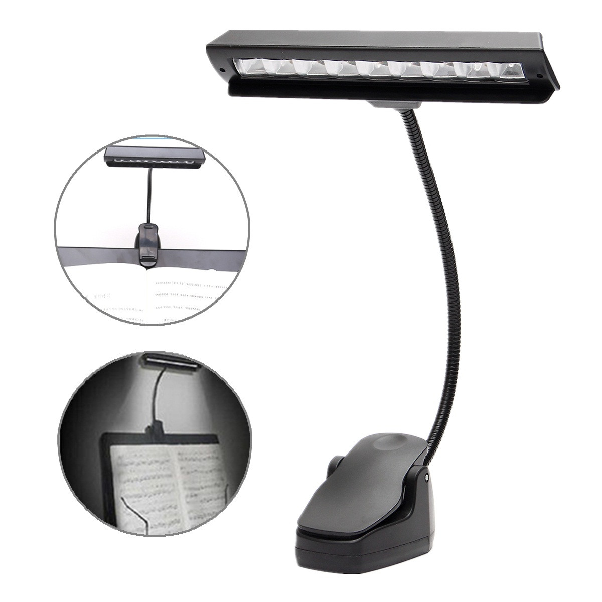 Flexible USB 9 LED Clip On Music Stand Clamp Night Light Student Table Lamp Desk Reading Bedside Light Bedroom Home Lighting