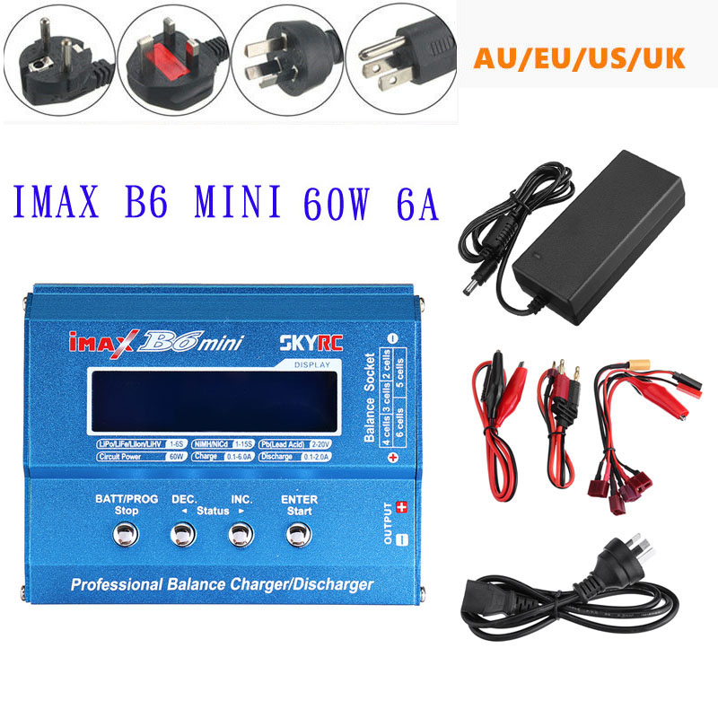 Original SKYRC IMAX B6 Mini 60W 6A Balance Charger Discharger with Power Supply for LiPo Li-ion LiFe Nimh Nicd BatteryOriginal SKYRC IMAX B6 Mini 60W 6A Balance Charger Discharger with Power Supply for LiPo Li-ion LiFe Nimh Nicd Battery