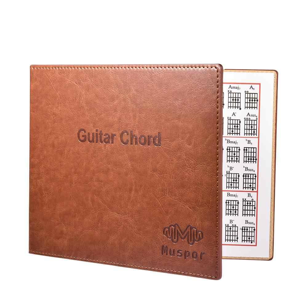 Muspor гитара Chord книга диаграмма Высокое качество PU кожа 6 струн пресс-папье Гитара аккорды табулатура гитара палец упражнение лист
