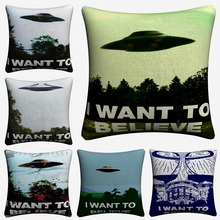 I Want To Believe X File TV Play Decorative Linen Cushion Cover 45x45cm Pillowcase For Sofa Home Decor Pillow Case Almofada