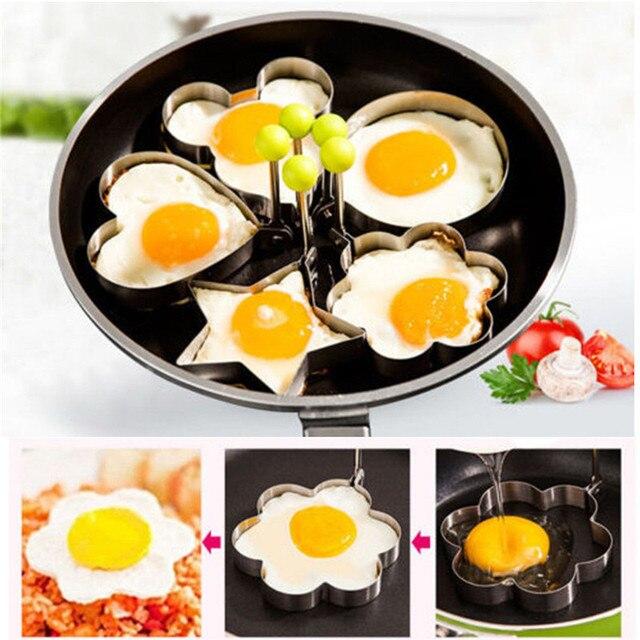 Café da manhã Fried Egg Mold Aço Inoxidável Shaper Pancake Egg Poach Anel Mould Coração Da Flor Da Estrela Mickey Rodada Ferramenta de Cozimento Cozinha