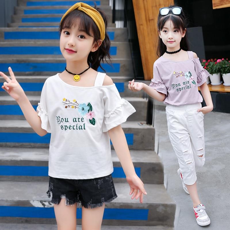 Girls Short Sleeve Wooden Ear Trumpet T-Shirt Summer Embroidery Flower Cotton Off Shoulder Student Childrens clothing