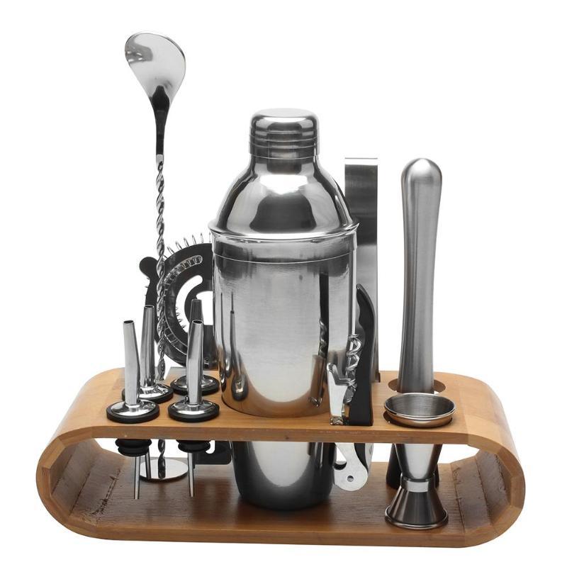 12 teile/satz Edelstahl Schnaps Rot Wein Cocktail Shaker Bar Wein Mixer Set Bartender Cocktail Hand Shaker Tool Kit mit halter