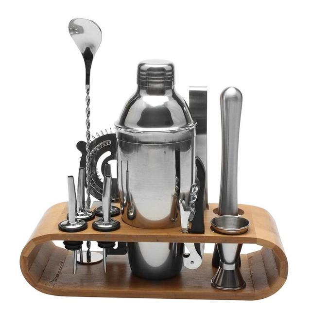 12pcs/set Stainless Steel Liquor Red Wine Cocktail Shaker Bar Wine Mixer Set Bartender Cocktail Hand Shaker Tool Kit with Holder