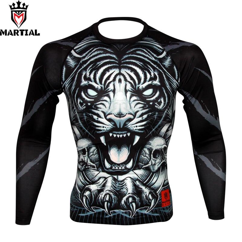 Martial : NEW ARRIVLA TIGER Original Design Boxing Rashguards Gym T-shirt Wrestling Jersey Long Sleeve T Shirts For Sports