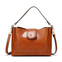Big Women Bag Handbag Wax Oil Leather Large Tote Bag Solid Color Female Fashion Shoulder Bags Black Brown Office Lady Handbags