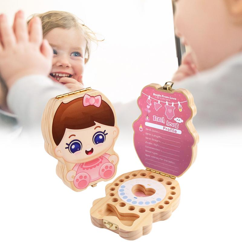 Baby Tooth Box Boy Girl Teeth Memorial Box Wooden Collection Store Baby Deciduous Teeth, Baby Hair, Etc To Record Baby Growth