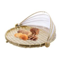 AFBC Picnic basket with gauze Fruit Hand woven Bug-Proof Dust Sun Handmade bread for fruit and vegetables