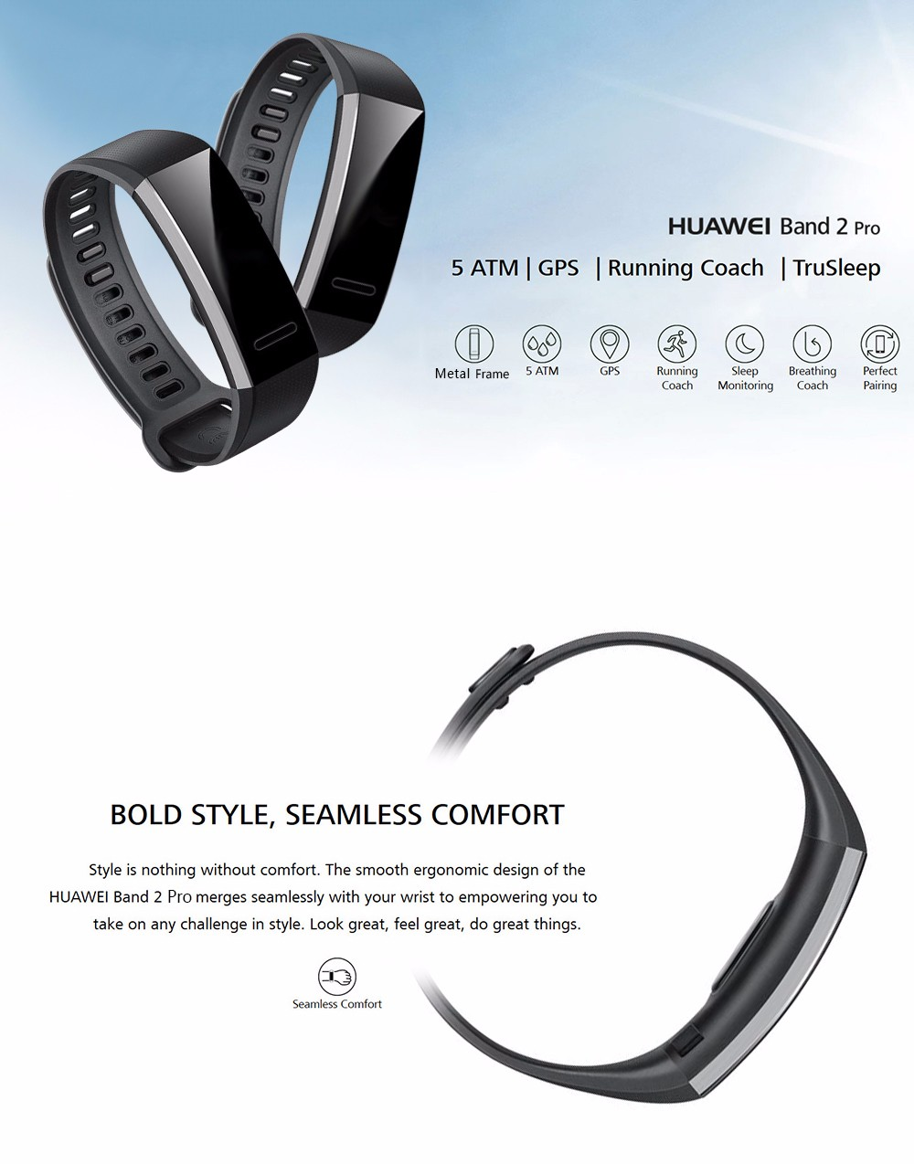 Original Huawei Band 2 Pro GPS Sports Smart Bracelet PMOLED Screen Sleep /  Heart Rate Monitor Sedentary Reminder Sports Guide