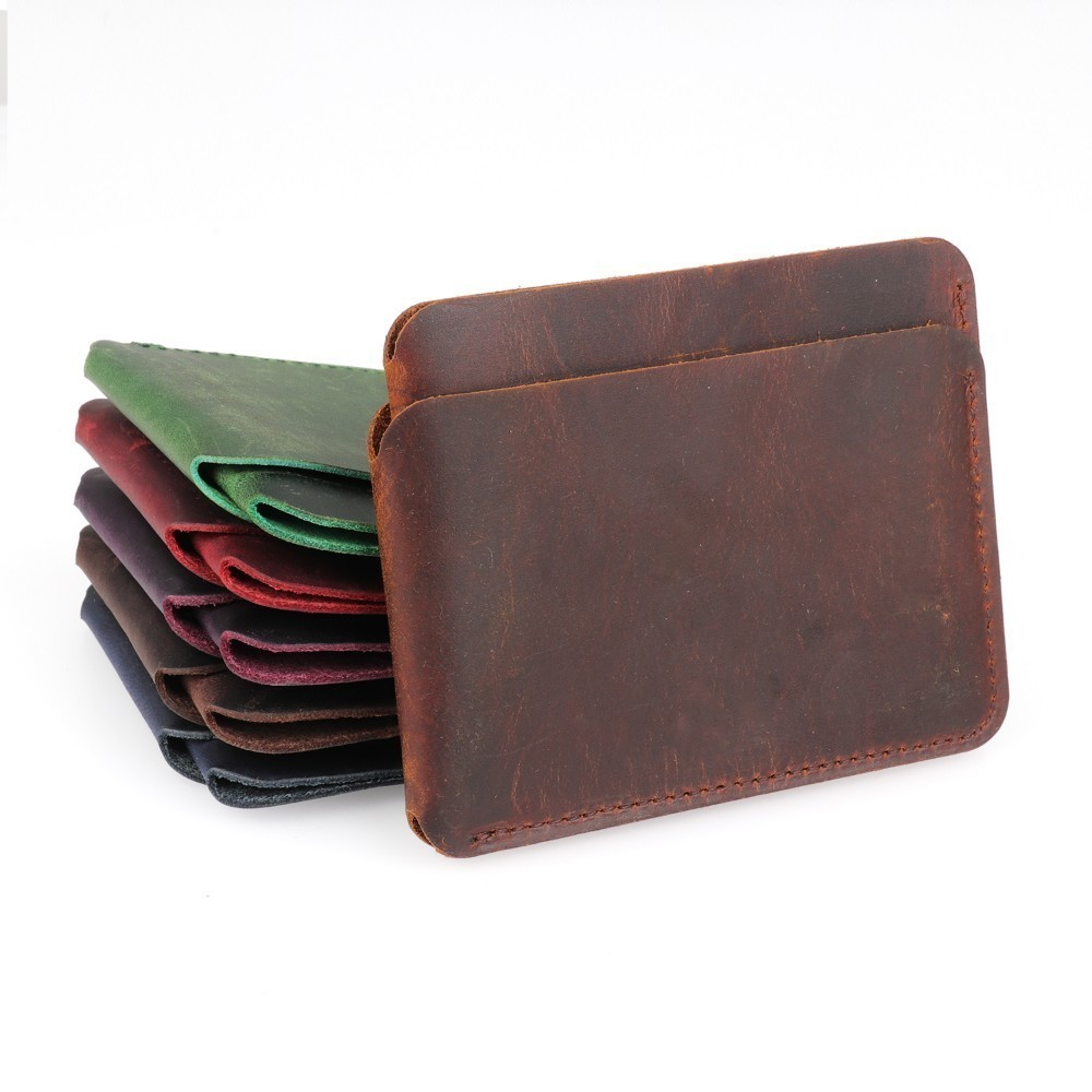 100% Genuine Leather Credit ID Card Holder Crazy Horse Leather Travel Mini Wallet Retro Vintage Business Purse Case
