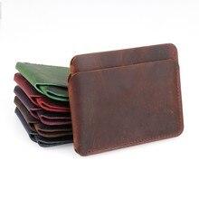 100% Genuine Leather Credit ID Card Holder Crazy Horse Travel Mini Wallet Retro Vintage Business Purse Case