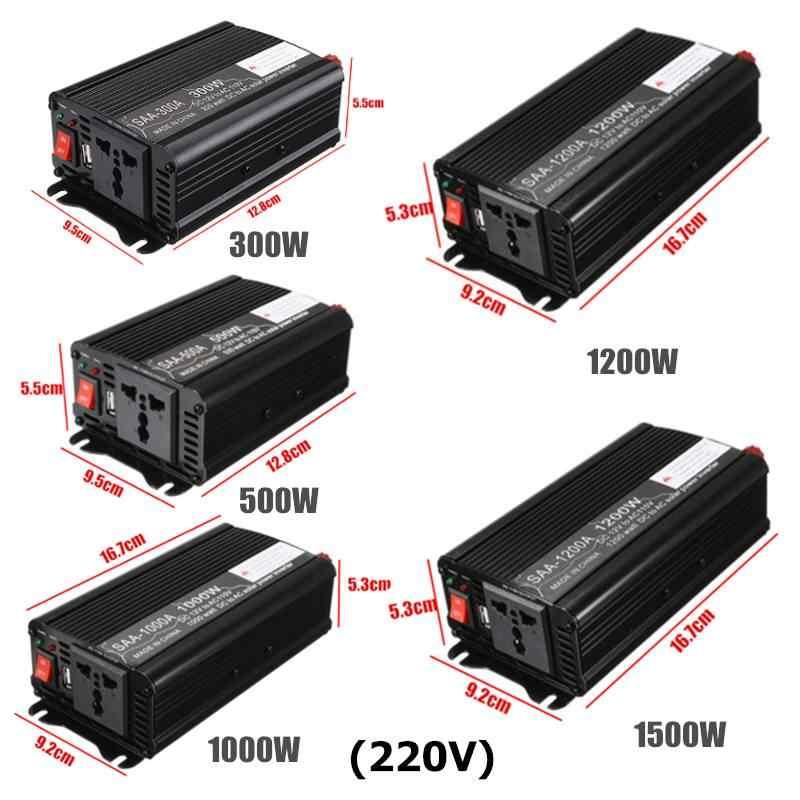 Inversor de corriente 600/1000/2000/2500/3000W máx. 110 V/220 V 12V convertidor de transformador de voltaje de onda sinusoidal modificada carga de coche USB