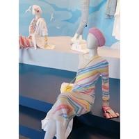 2019 весенние дизайнерские шерстяные спортивные костюмы женские модные свитера в полоску цвета Макарон Женский комплект из двух предметов