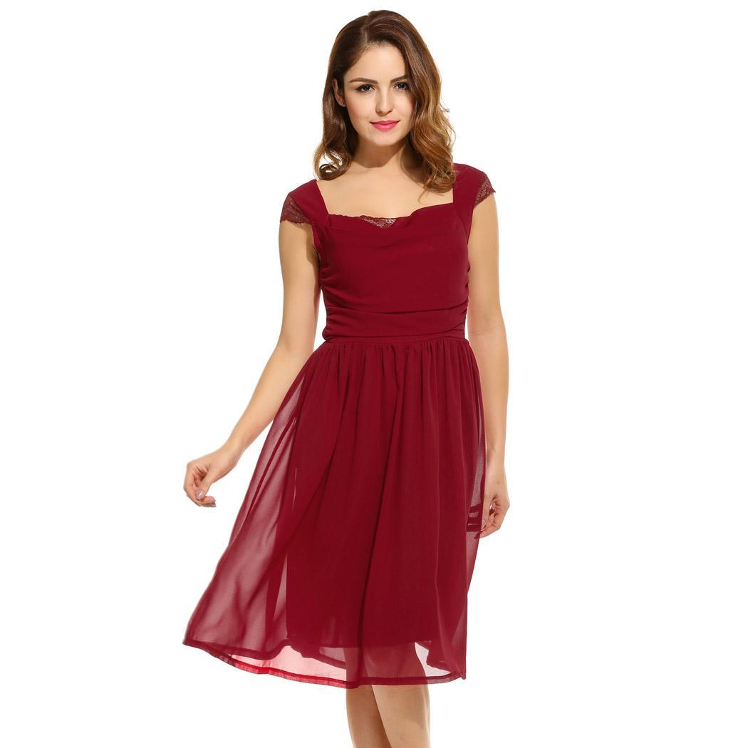 AL'OFA Women   Cocktail     Dresses   Simple Chiffon Sleeveless Patchwork Square Neck Pleated A-Line   Dress   Homecoming   Dress