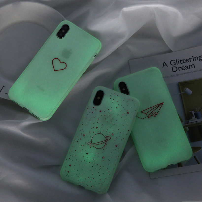 Galleria fotografica USLION Luminous Silicon Case For iPhone 7 6 6s 8 Plus X XR XS MAX XS Cartoon Love Heart Stars Phone Cases Soft TPU Cover Coque