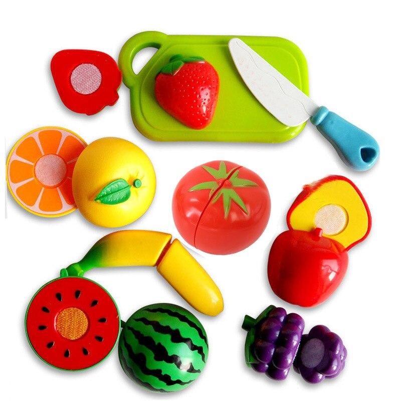 9-sets Van Cut Twee Kleuterschool Wetenschap Onderwijs Cognitieve Houten Fruit En Groenten Snijden Keuken Speelgoed