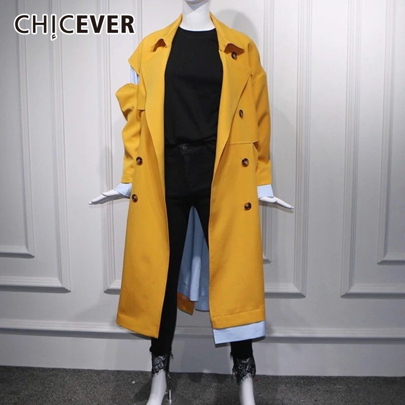 CHICEVER England Style Yellow Women   Trench   Korean Loose Slim Patchwork Double Breasted Lapel Long Sleeve Pockets Female Coat New