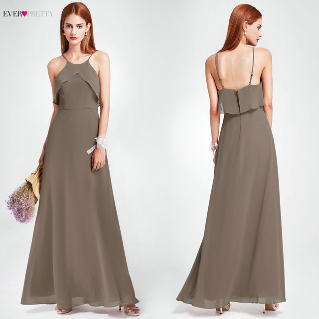 Bridesmaid Dress 2019 Ever Pretty Elegant Long Backless Spaghetti Straps  Charcoal Wedding Guest Gowns Sexy Halter Party Dresses 3265f0f44420